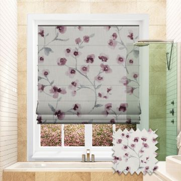 Blue Roman blind in Flower Patterned Carenza Voilet fabric